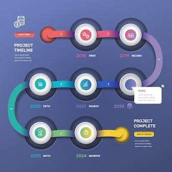 Stile di gradiente infografica timeline