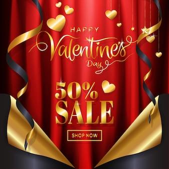 Stile di lusso della pagina dell'insegna della pagina dell'insegna del fondo di vendita di san valentino dell'oro di lusso