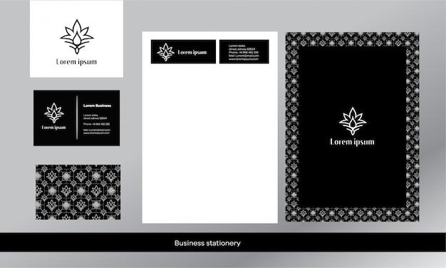 Stile di lusso. stile bianco e nero il logo ha la forma di un foglio di cannabis e una goccia. minimalismo elegante.