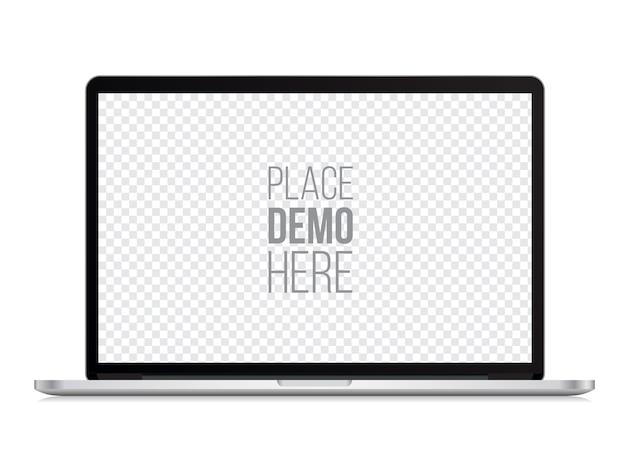 Stile di macbook mockup anteriore del computer portatile isolato