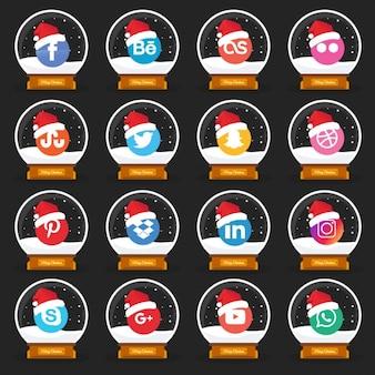 Stile di natale social media icon pack
