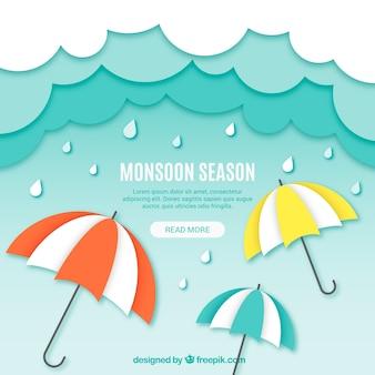 Stile di origami di composizione stagione dei monsoni