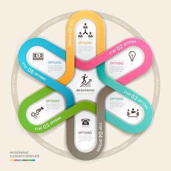 Stile di origami di infographics cerchio aziendale.