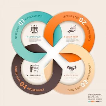 Stile di origami moderno business servizio cerchio freccia infografica