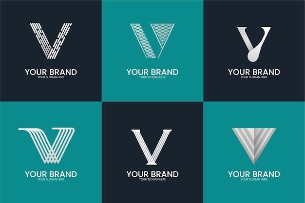 Stile di raccolta del logo della lettera v.