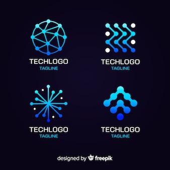 Stile di sfumatura collezione logo tecnologia