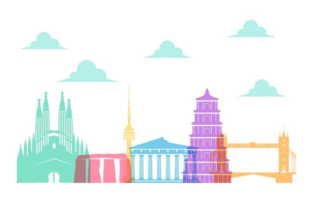 Stile di skyline di punti di riferimento tematici colorati