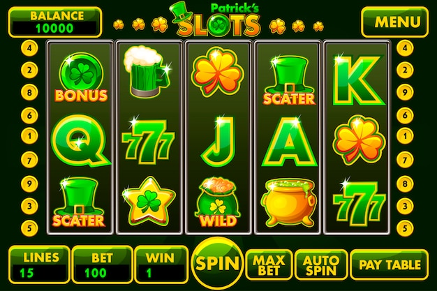 Stile di slot machine vector interface st.patrick di colore verde.