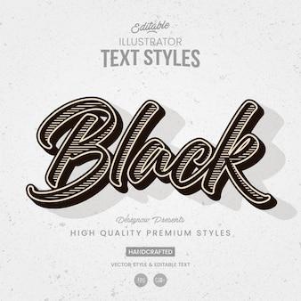 Stile di testo di illustrator vintage in bianco e nero
