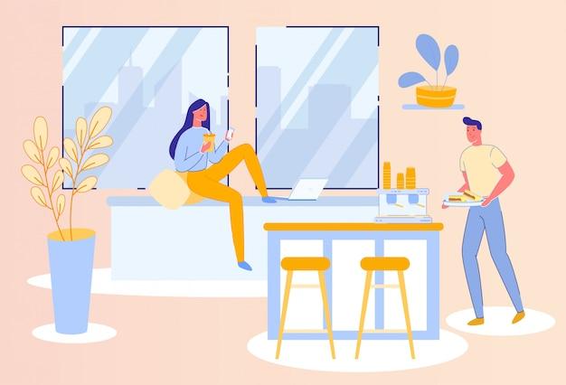 Stile di vita quotidiano o lavoretto - coppia in cucina.
