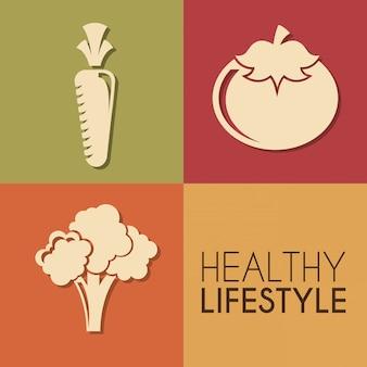 Stile di vita sano sopra illustrazione vettoriale colori sfondo