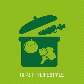 Stile di vita sano sopra illustrazione vettoriale sfondo verde