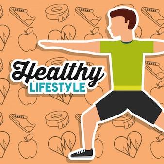 Stile di vita sano uomo stretching formazione sport icone sullo sfondo