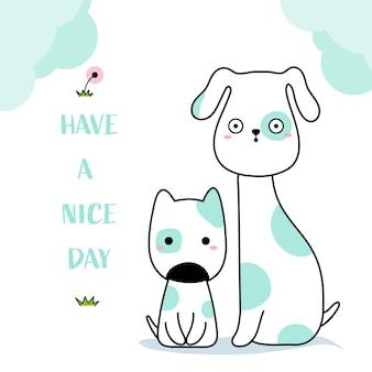 Stile disegnato a mano animale di cani svegli