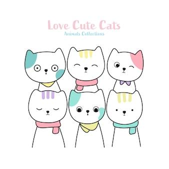 Stile disegnato a mano animale di gatti svegli