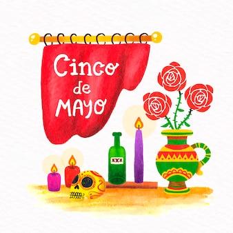 Stile disegnato a mano cinco de mayo