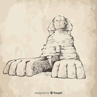 Stile disegnato a mano del fondo della sfinge dell'egitto