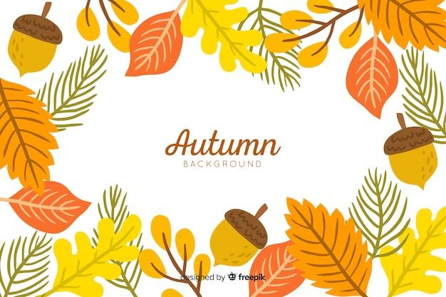 Stile disegnato a mano del fondo delle foglie di autunno