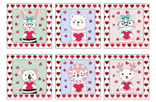 Stile disegnato a mano del fumetto animale sveglio del biglietto di s. valentino