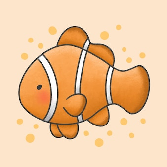 Stile disegnato a mano del fumetto del pesce pagliaccio di ocellaris sveglio