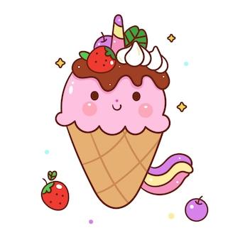 Stile disegnato a mano del fumetto di vettore sveglio del gelato di unicorno