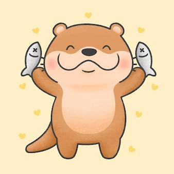 Stile disegnato a mano del fumetto sveglio del pesce e della lontra