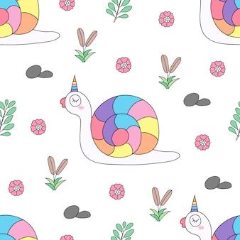 Stile disegnato a mano del fumetto sveglio dell'unicorno del modello senza cuciture.