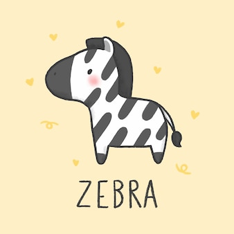 Stile disegnato a mano del fumetto sveglio della zebra