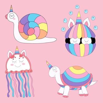 Stile disegnato a mano del fumetto unicorno sveglio.