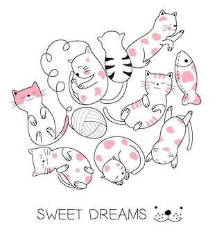 Stile disegnato a mano del gatto sveglio del bambino