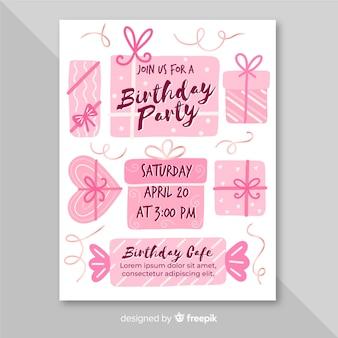 Stile disegnato a mano del modello dell'invito di compleanno