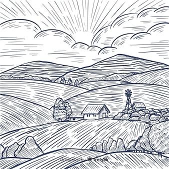 Stile disegnato a mano del paesaggio dell'azienda agricola