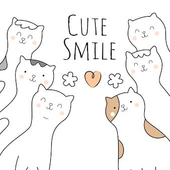 Stile disegnato a mano del personaggio dei cartoni animati sveglio dei gatti