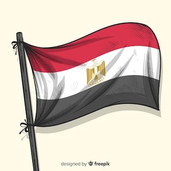 Stile disegnato a mano della bandiera nazionale dell'egitto