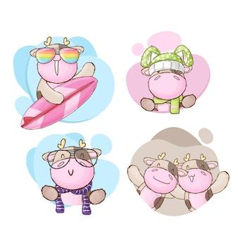 Stile disegnato a mano della collezione sveglia del fumetto della mucca del bambino