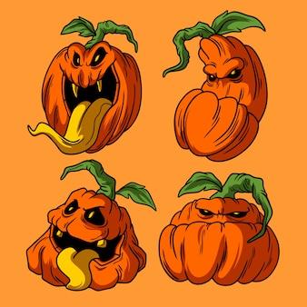 Stile disegnato a mano delle illustrazioni di halloween della zucca