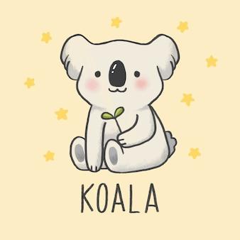 Stile disegnato a mano di cartone animato carino koala