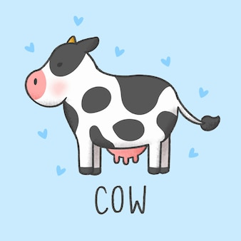 Stile disegnato a mano di cartone animato carino mucca