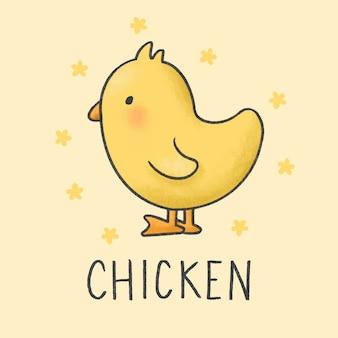 Stile disegnato a mano di cartone animato carino pollo