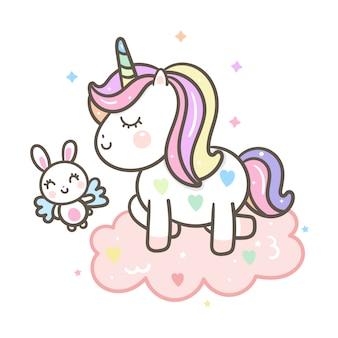 Stile disegnato a mano di unicorno sveglio del fumetto di angolo e vettore del coniglio
