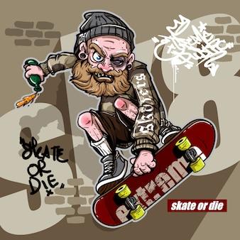 Stile disegnato a mano di uomo pazzo ubriaco cavalcando skateboard