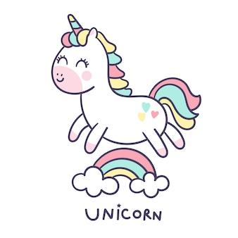 Stile disegnato a mano di vettore di unicorno carino