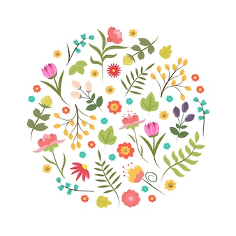 Stile disegnato a mano estate o primavera elemento di design floreale o logo a forma di cerchio. identità aziendale