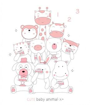 Stile disegnato a mano schizzo del fumetto gli animali del bambino carino postura