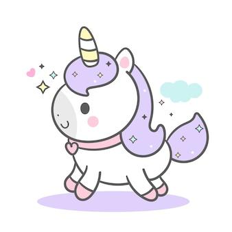 Stile disegnato a mano unicorno carino