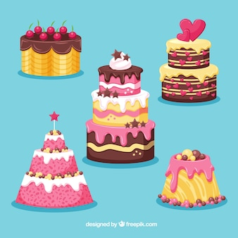 Stile disegnato collezione deliziosa torte in mano