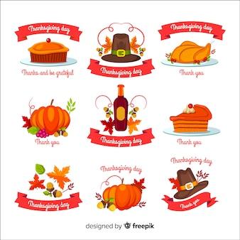 Stile disegnato collezione di etichette del giorno del ringraziamento in mano