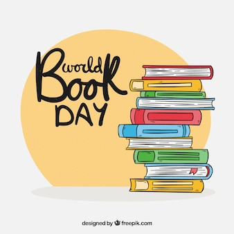 Stile disegnato del fondo del giorno del libro del mondo a disposizione