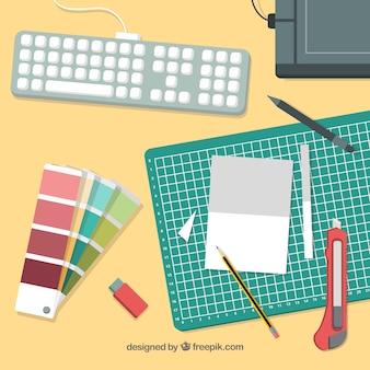 Stile disegnato del fondo dell'area di lavoro di progettazione grafica a disposizione