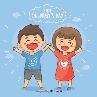Stile disegnato del fondo di giorno felice dei bambini a disposizione